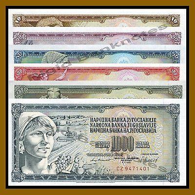 YUGOSLAVIA COMPLETE 7 NOTE SET 5 10 20 50 100 500 1000 DINARA 1968-86 UNC