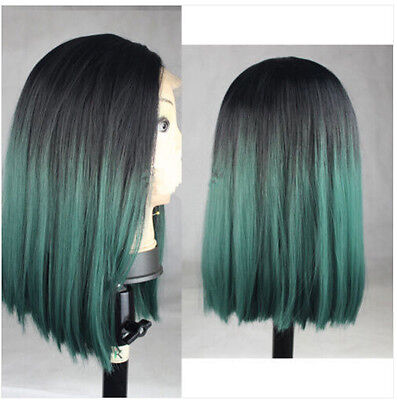"14"" Heat resistant lace front wig Synthetic Bob straight Ombre color 1B/Green"
