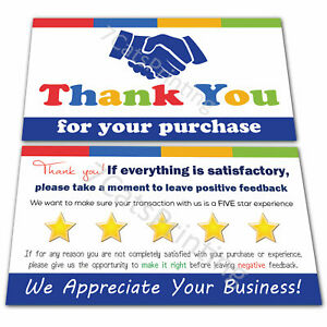 100 Thank You Cards for eBay Sellers Thanks for Your Order Purchase Notes