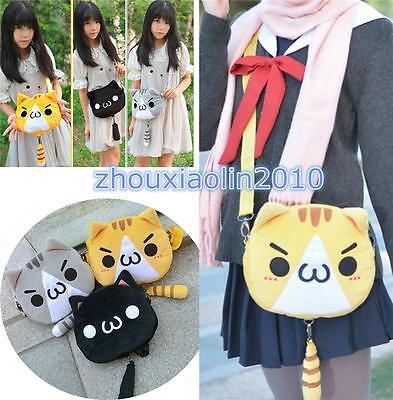 Anime Kaomoji-kun Emotiction Cute Plush Kawaii Meow Cat Shoulder Bag Girls Purse