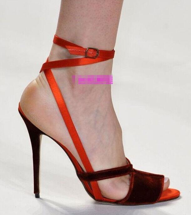 1f94a642cf5 Clásico Mujeres pasarelas Zapato Taco Bombas Alto Sexy Sandalias Bombas  Taco y Correa en el tobillo ...