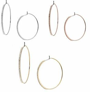MICHAEL-KORS-BRILLIANCE-ROSE-GOLD-GOLD-SILVER-TONE-PAVE-CRYSTAL-HOOPS-EARRINGS