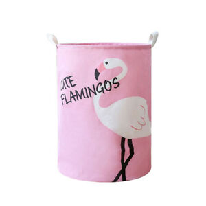 UK/_ Flamingo Cotton Linen Laundry Basket Dirty Clothes Storage Washing Bag Case