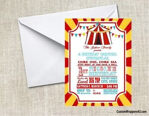 Circus Carnival Baby Shower Or Birthday Party Invitations