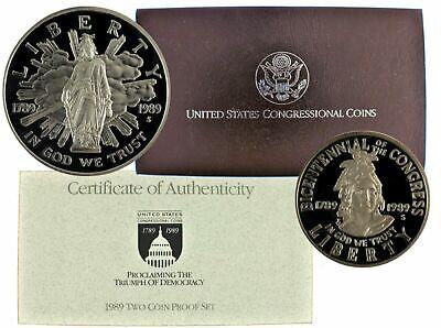 1989 US Commemorative 2 Coin Congressional Proof Set OGP