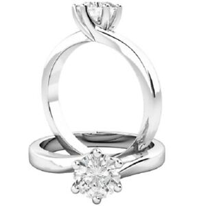 0.50 Ct Round Cut Moissanite Engagement Bridal Rings 18K Real White Gold Size 4