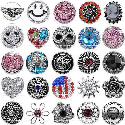 Punk Metal Crystal Snap Button Beads Charm Fit Leather Buckle Pop Bracelet DIY
