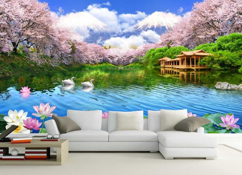 3D Rosa Wald See 866 Tapete Wandgemälde Tapete Tapeten Bild Familie DE Summer | Exquisite Verarbeitung  | Lass unsere Waren in die Welt gehen  | Gemäßigten Kosten