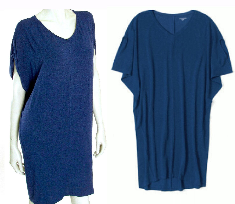 218 Eileen Fisher Cozy Viscose Jersey Dolman Sleeve blueebonnet Dress S