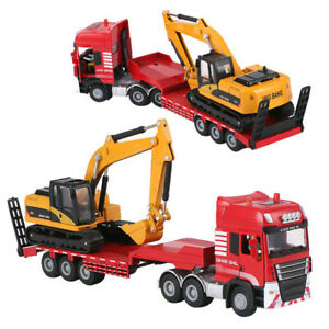 1-50-Alloy-Diecast-Excavator-Trailer-Model-2-IN-1-Engineering-Vehicle-Toy-Gift