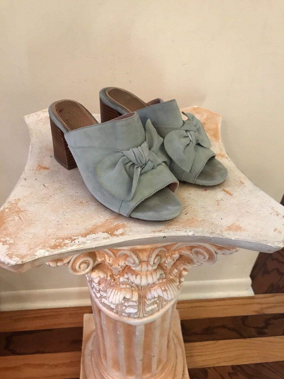 Anthropologie Liendo by Seychelles Women SUEDE Block Heel Mules Shoes 6.5 Green