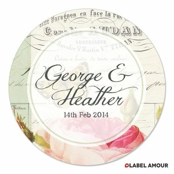 PERSONALISED Wedding Favour Sticker Seals Labels   Vintage Rose   3 Sizes