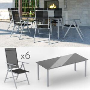 Détails sur Salon de jardin lot de 6 + 1 canapé salon de jardin fauteuil  pliant aluminium