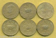 6 DIFFERENT 20 Paise Set 6 Coins,1968, 1969, 1970, 1971, Gandhi, Sun & Lotus
