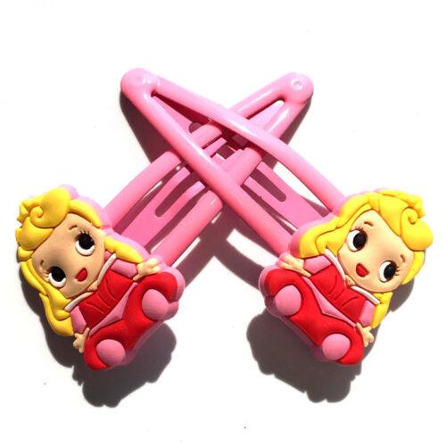 1 Pair Disney Mickey Minnie Mouse Princess PVC Hair Clip Girl Kids Party Favor