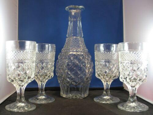 Anchor Hocking Wexford pattern Decanter & 4 matching Water Goblets