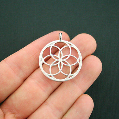 SC5593 4 Seed of Life Charms Antique Silver Tone Stunning 2 Sided