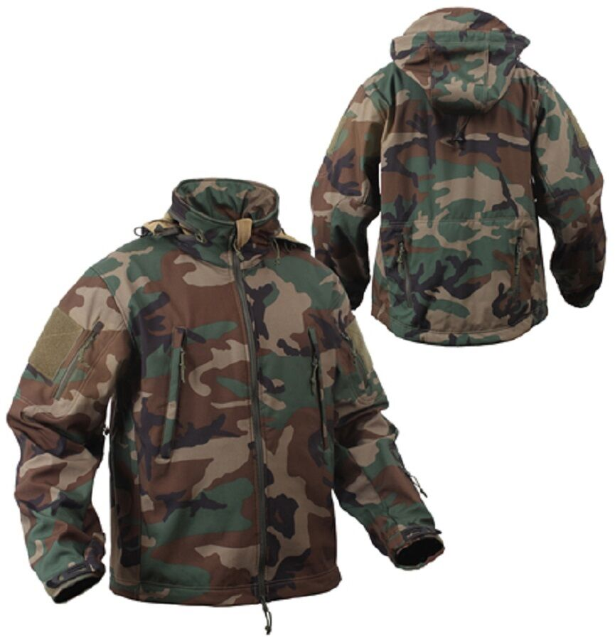 US SPECIAL SPEC OPS TACTICAL ARMY Softshell Giacca in Pile WOODLAND Mimetico 3xl