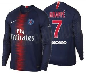 5047b31c3 NIKE KYLIAN MBAPPE PARIS SAINT-GERMAIN PSG LONG SLEEVE HOME JERSEY ...