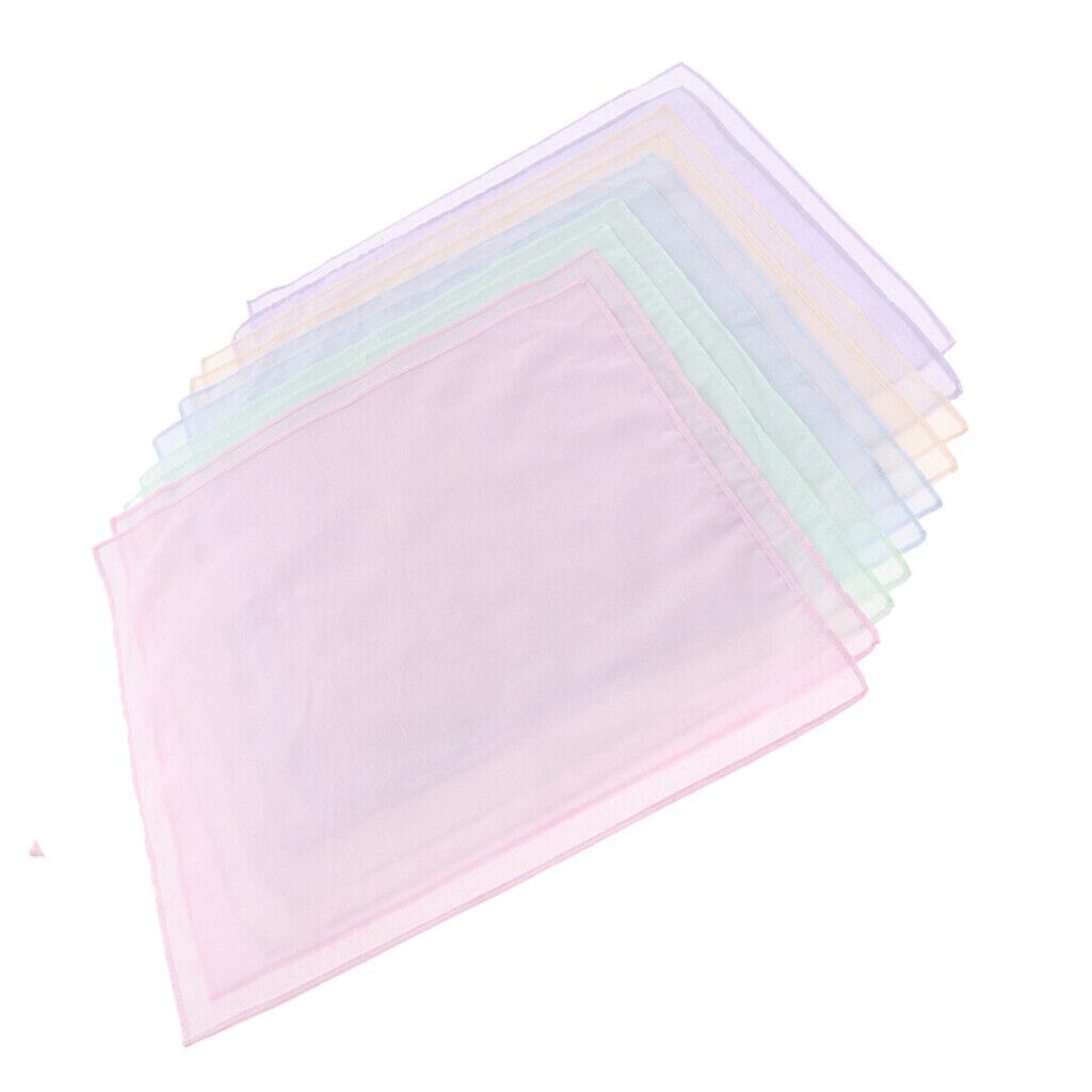 10pcs DIY Solid Handkerchiefs 100% Cotton Square Super Soft Washable Hanky