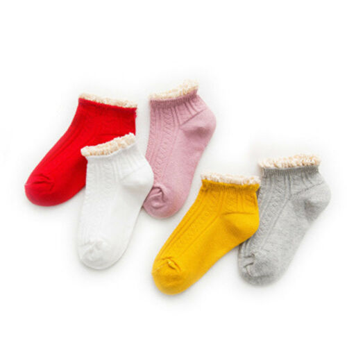 5 Pairs//Set Cute Cotton Kids Princess Socks Lace Short Socks Warm Kids Socks