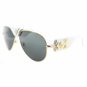 c529d8e48c Versace VE 2150Q 134187 Gold And White Metal Aviator Sunglasses Grey ...