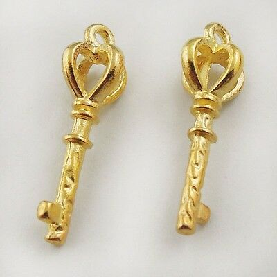 03093 Vintage Gold Tone Beauty Elegant Crown Skeleton Key Pendant Charms 50pcs