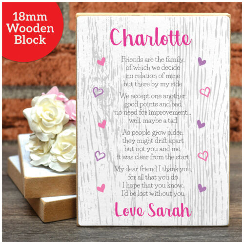Personalised Friendship Poem Gifts for Best Friends BFF Work Colleagues Her She