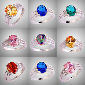 Hot-Sale-Amethyst-Sapphire-Quartz-Multi-Gemstone-Silver-Ring-Size-6-7-8-9-10-11