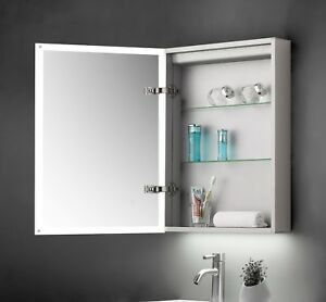 Details About Modern Bathroom Led Illuminated Mirror Cabinet 500x700mm Shaver Socket Ir Sensor