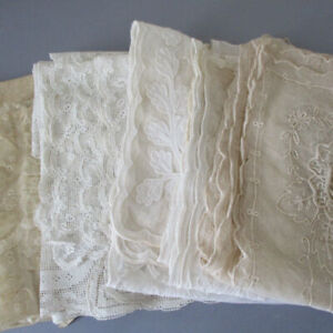 Lot 6 Antique LACE Runners Scarfs LAPPETS Brussels TAMBOUR Filet LACE * AS IS