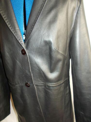 2 foderata pelle 3 nera 4 anteriore finest 12 Coat 10 bottoni in Pelle w0vOxn0
