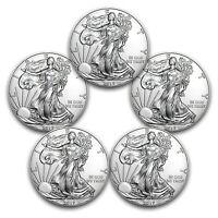 2017 1 oz Silver American Eagles BU 5 Coin Lot