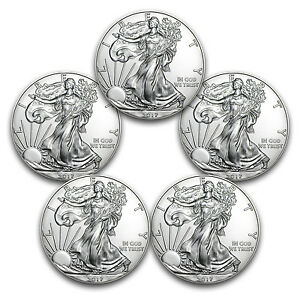 2017 1 oz Silver American Eagles BU 5 Coin Lot
