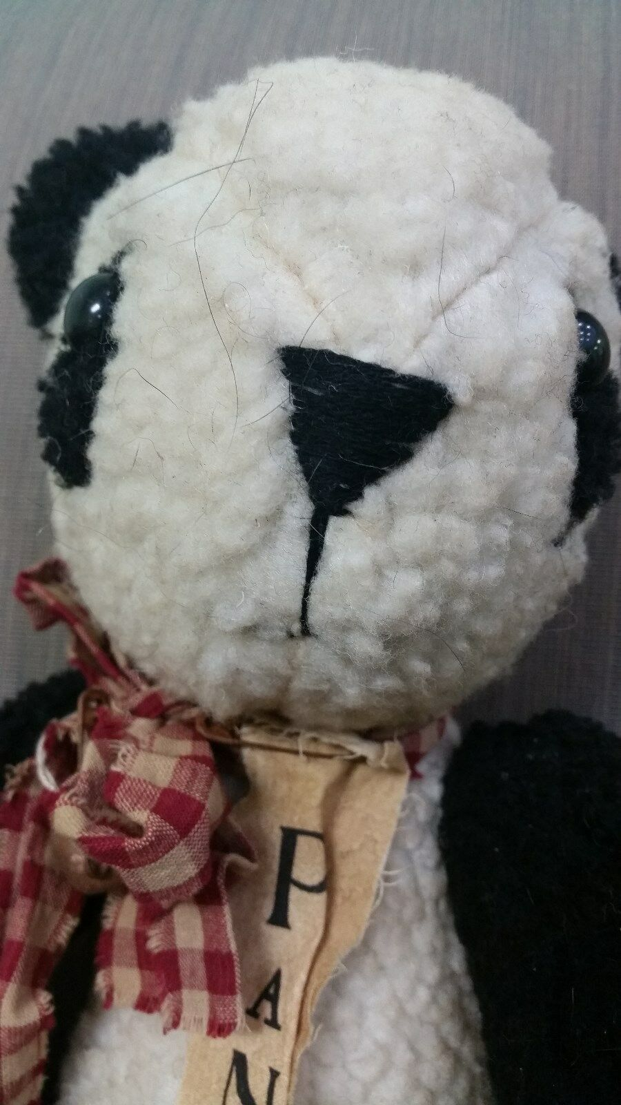 Vintage Plush Panda Bear with Plaid Bow and Bell 16