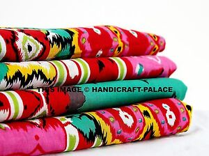 5-Iarda-INDIAN-Handmade-Cotone-Stampato-Rosa-Ikat-Tessuto-Naturale-sanganeri-Print