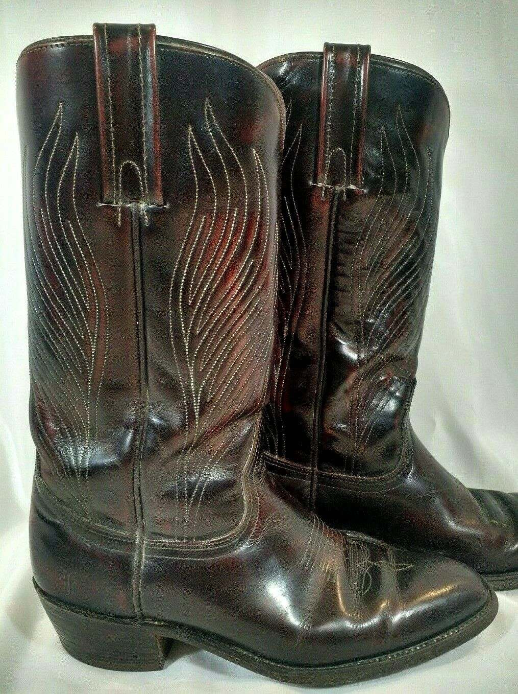 FRYE Western Cowboy Reddish Brown Boots Pull On 3280 10D Flames 70s 80s Oxblood