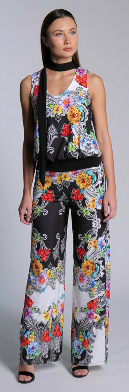 Julian Chang Designer  Jumpsuit  Weiß Multi Floral Print Sz XLarge
