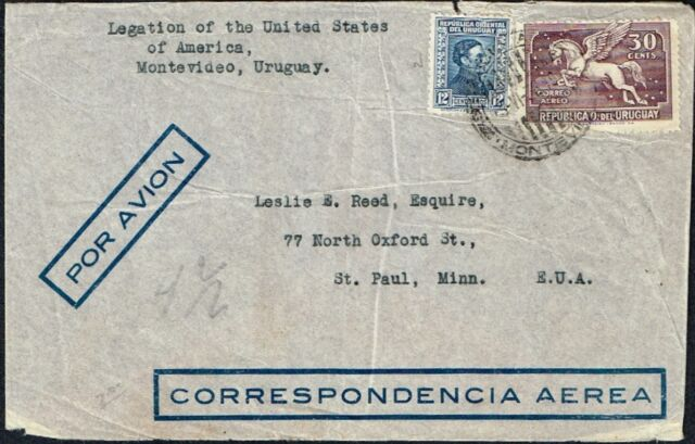 074 URUGUAY TO US AIR MAIL COVER 1936 MONTEVIDEO - SAINT PAUL, MN
