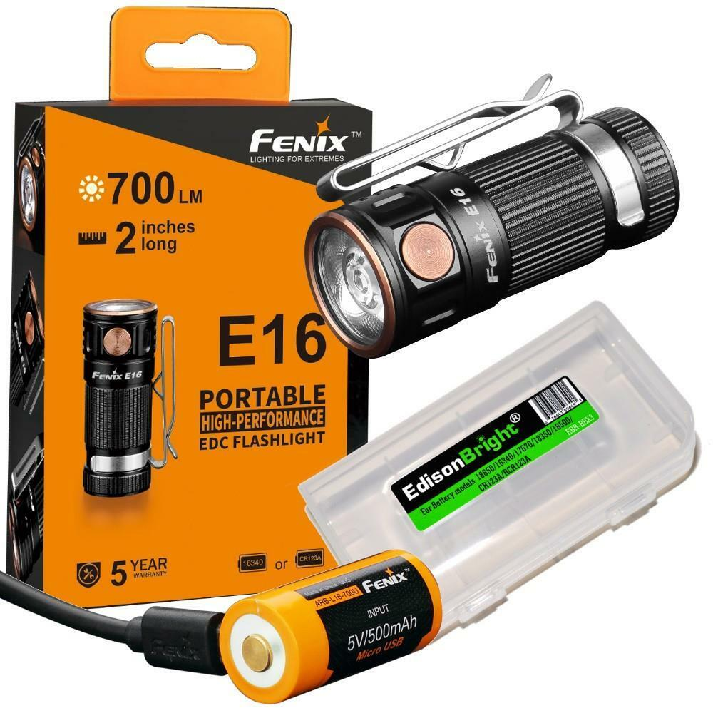 Fenix E16 700 lumen CREE LED compact EDC flashlight rechargeable battery kit