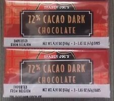 6 TRADER JOES 72% CACAO Belgium Dark Chocolate Candy Bars NO ARTIFICIAL FLAVORS