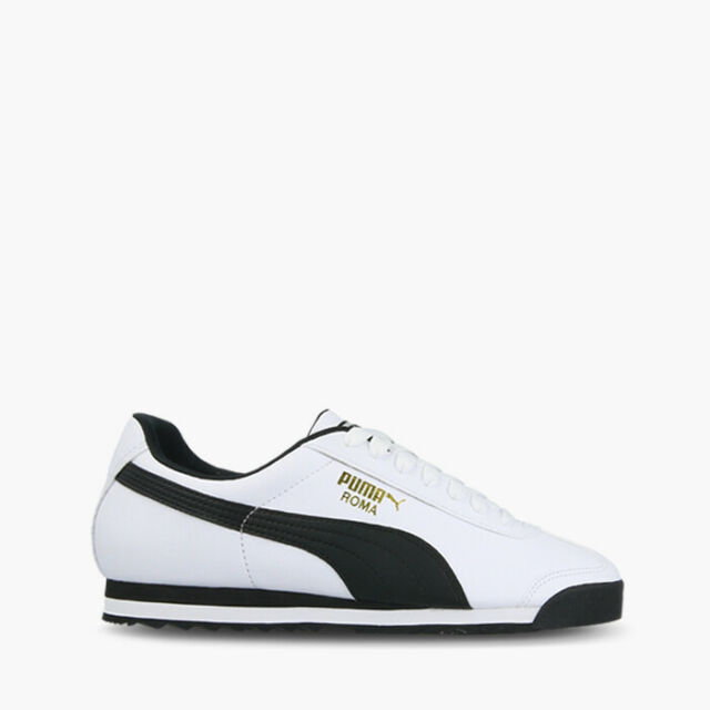 Puma Roma Basic White Black Men Classic Shoe Sneakers Trainers 353572 04 44.5