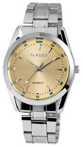 Herrenuhr-Gold-Silber-Analog-Quarz-Metall-Klassisch-Armbanduhr-D-1372410009300