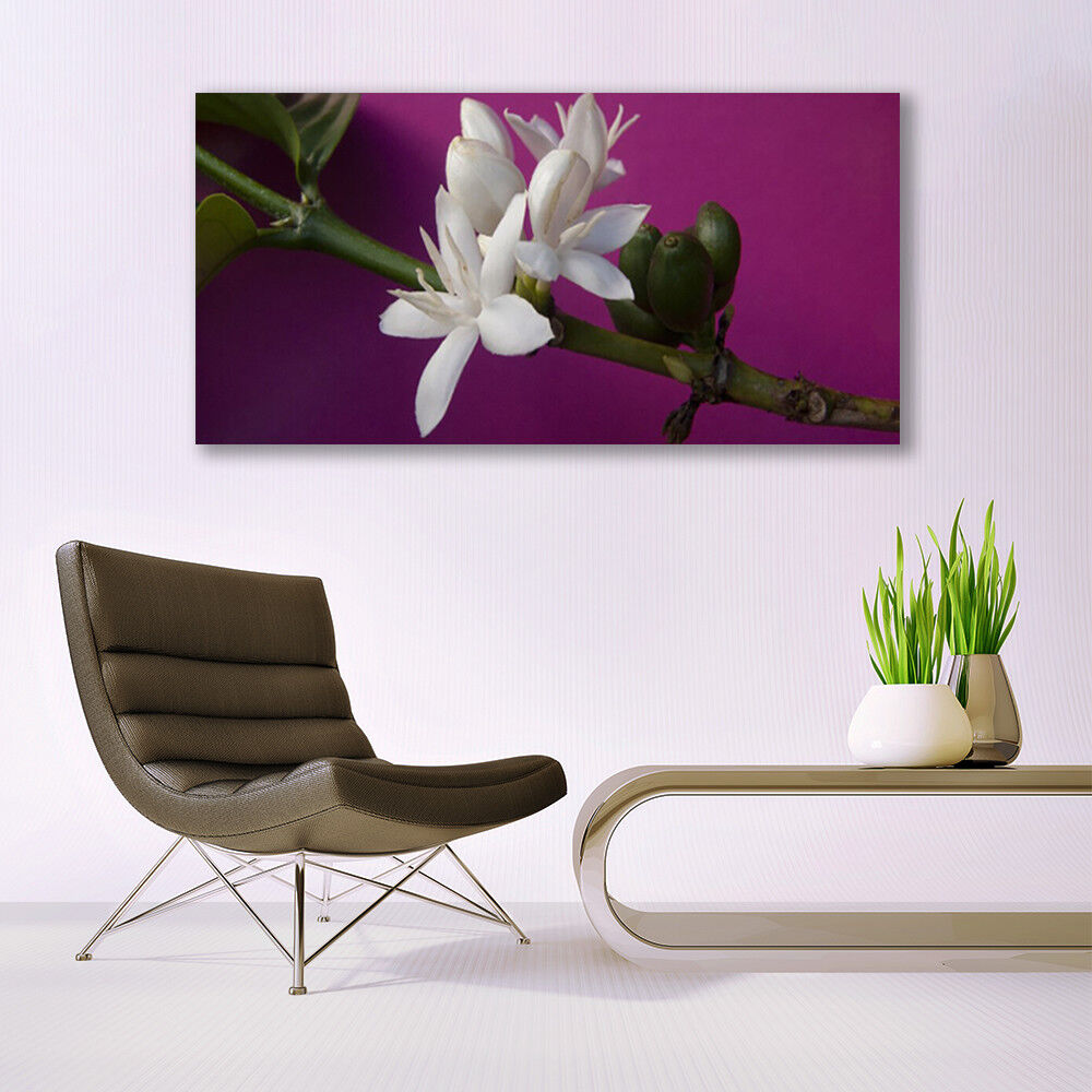 Murales cuadros de cristal cristal de presión sobre vidrio 140x70 flores plantas tallo 69b950