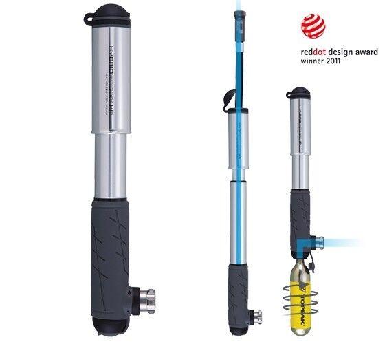 Topeak Hybride Fusée hp avec Co2 Option, Pompe à Vélo Mini Compact de Course
