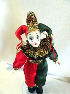 """VINTAGE 15"""" Harlequin Mardi Gras Jester Clown Doll  w. Metal Stand-Hand Painted"""