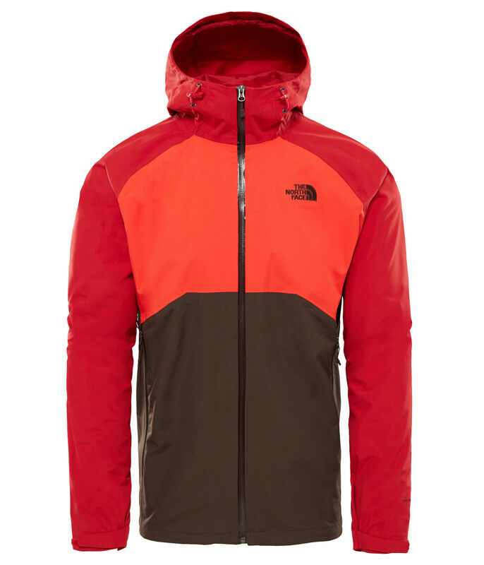 The North Face Stratos Jacket Herren Hardshell Regenjacke braun-fiery rot-rage r