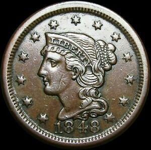 1848 Braided Hair Large Cent Penny ---- Nice Type Coin ---- #H424