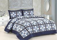 3 Pc Cotton Vintage Bear Claw Design Full Quilt Set With Pillow Shams