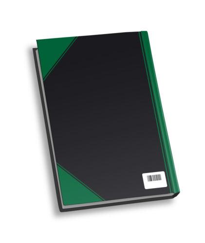 DIN A5 96 Blatt schwarz mit grünen Ecken Kladde blanko Notizbuch
